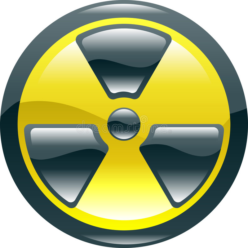 Glossy shint radiation symbol icon vector illustration
