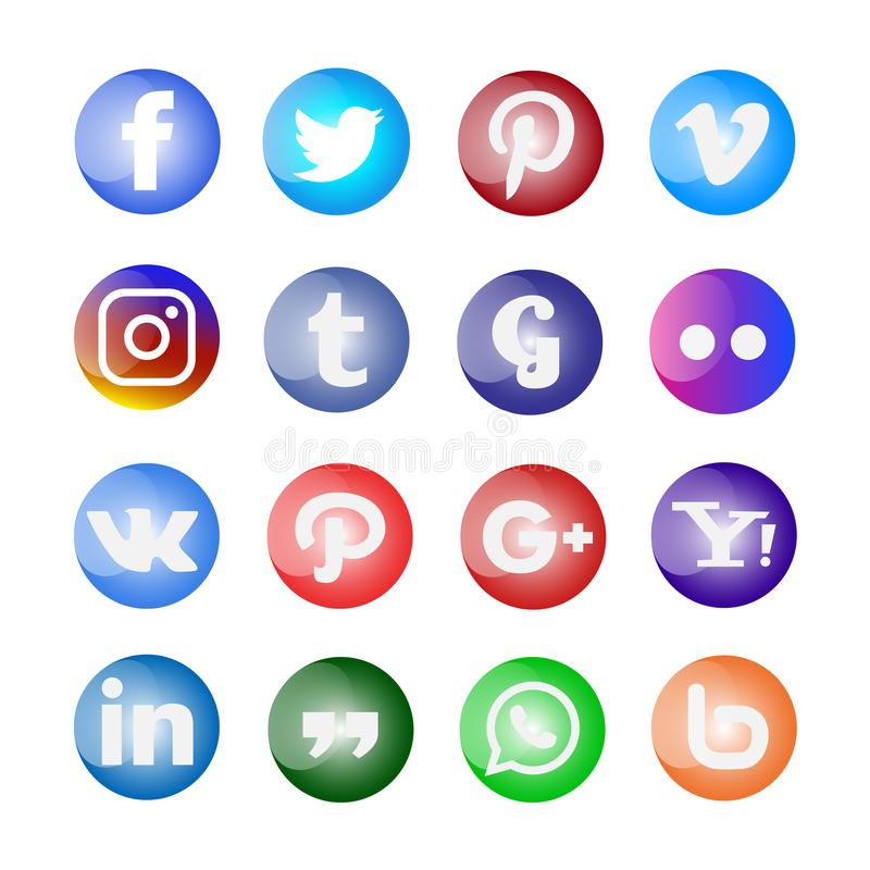 Glossy Social media icon and buttons set stock illustration