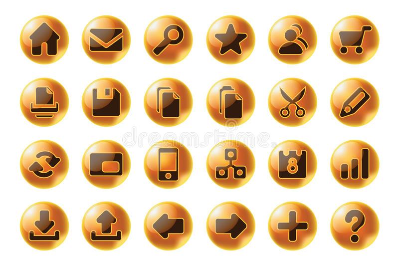 Glossy sphere web and multimedia icons stock illustration