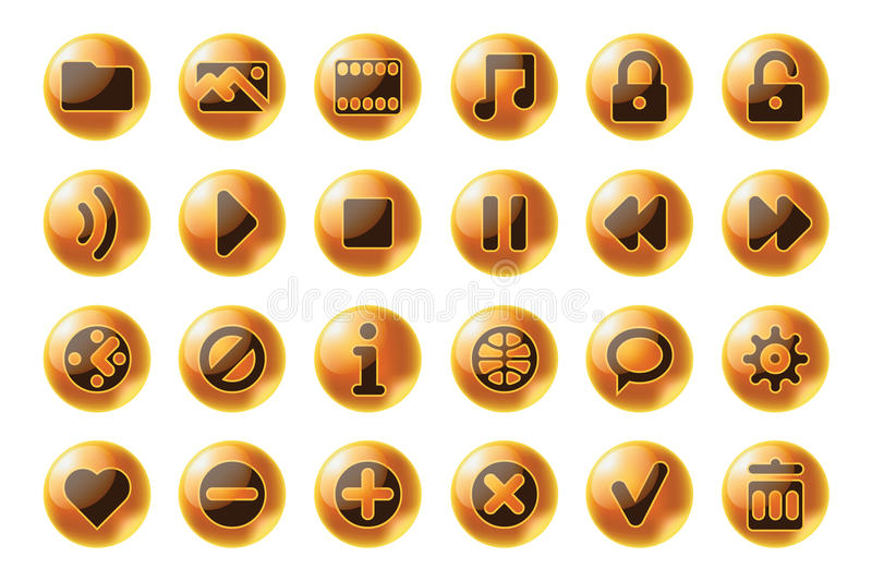 Glossy sphere web and multimedia icons vector illustration