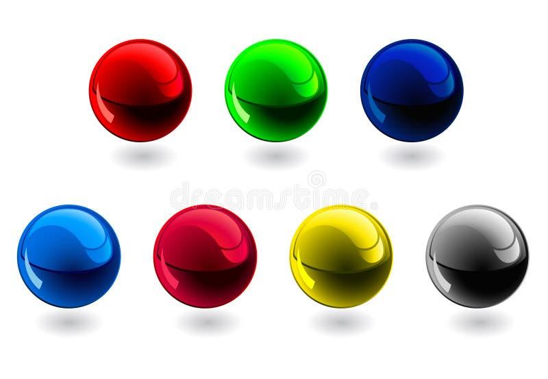 Glossy spheres. RGB, CMYK royalty free illustration