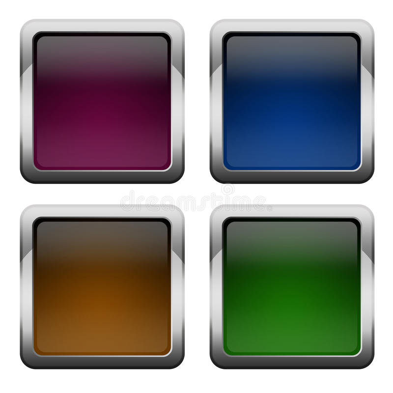 Download Glossy square buttons stock illustration. Illustration of modern - 25303719