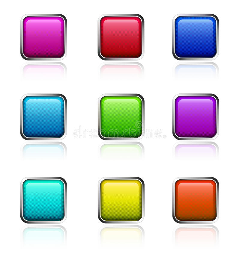 Glossy square buttons
