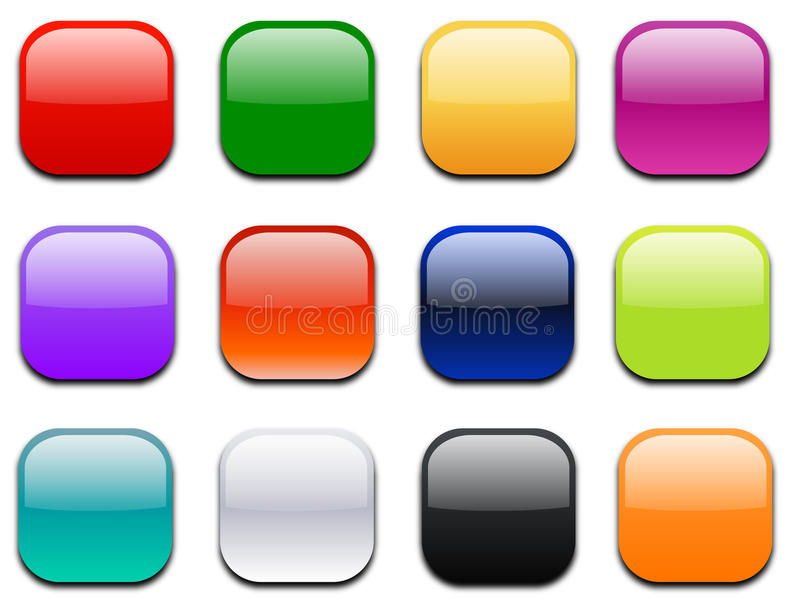 Download Glossy Square Icons For Web & Print Stock Vector - Illustration: 18487619