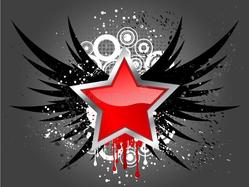 Glossy star on grunge vector illustration