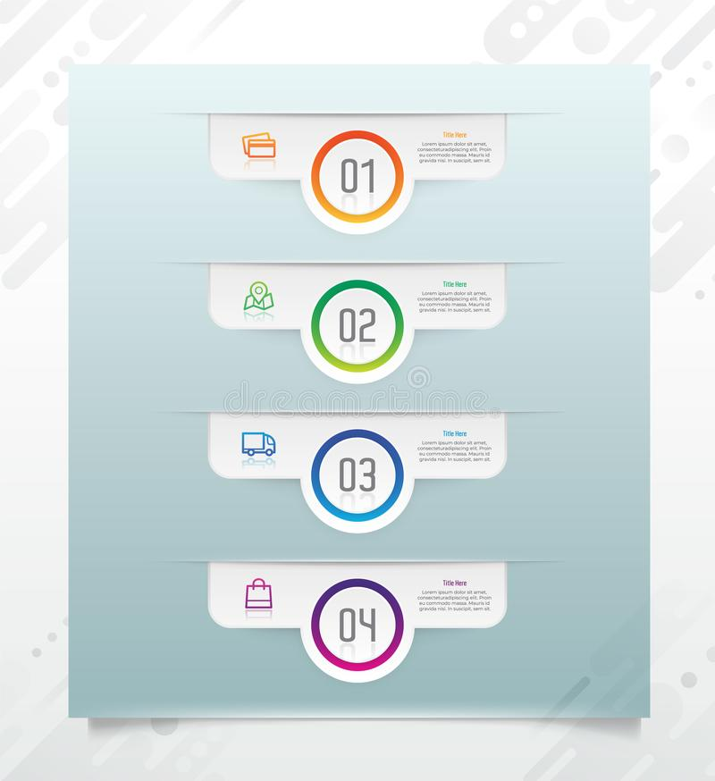 Glossy step option circle infographic vector design with paper effect for business especially finance, and used for presentation, royalty free illustration