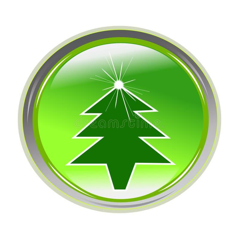 Glossy Sticker With Xmas Tree Royalty Free Stock Image
