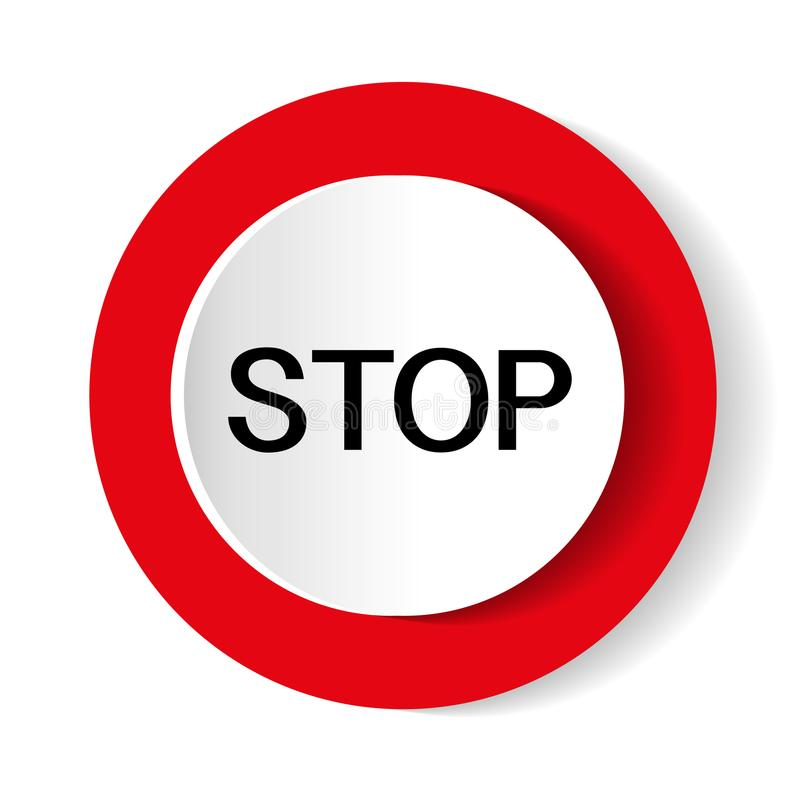 Glossy stop sign button for web applications. vector format stock illustration