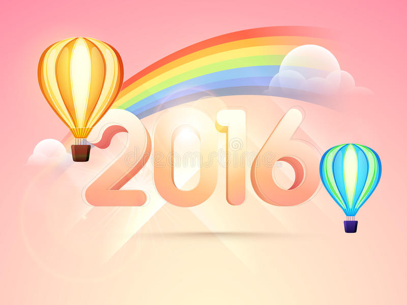 Glossy stylish text 2016 for New Year. stock illustration