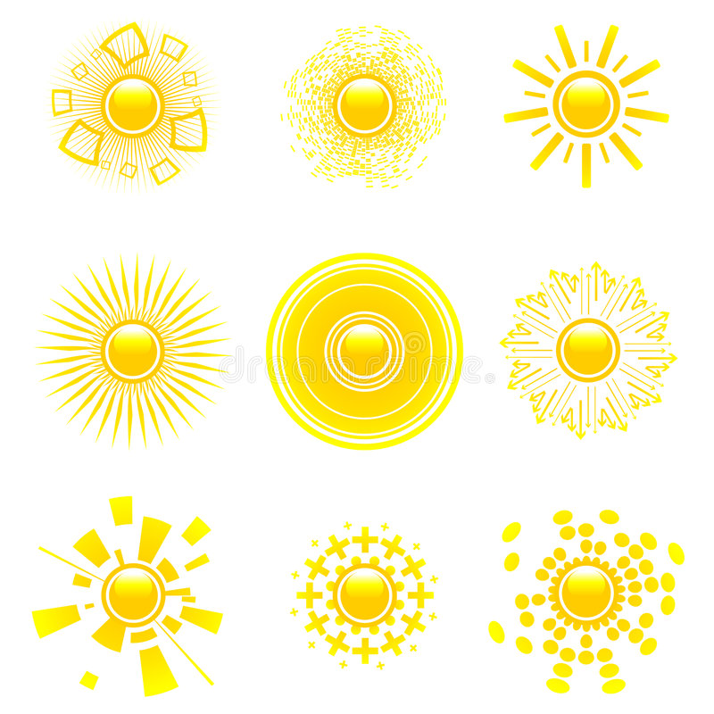 Glossy Sun Collection. Stock Images