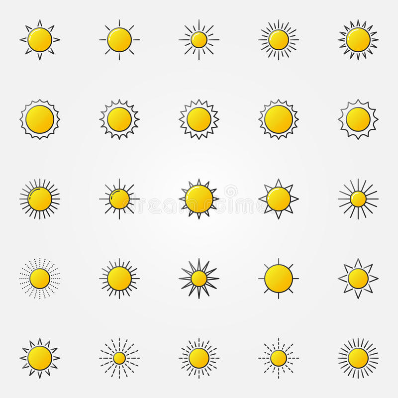 Glossy sun icons set royalty free illustration