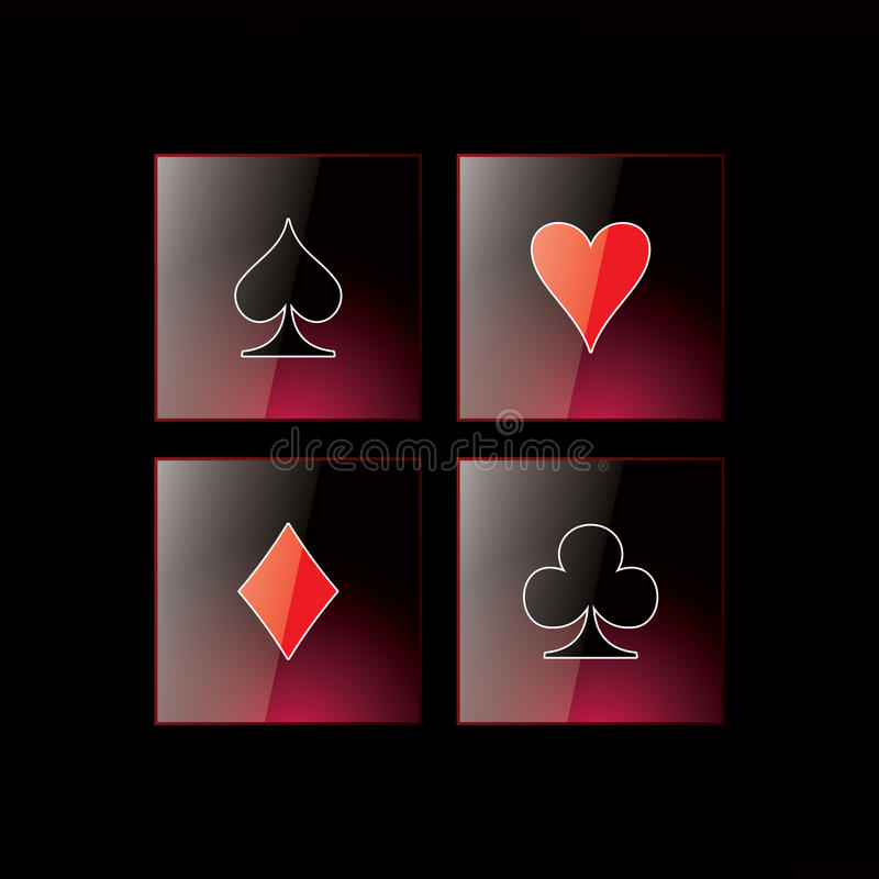Download Glossy Symbols Of Playing Cards Stock Illustration - Illustration of game, chance: 17027661