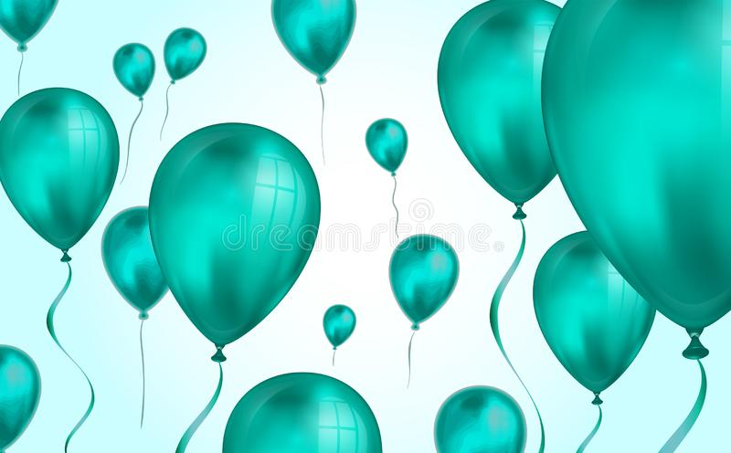 Glossy teal color Flying helium Balloons backdrop with blur effect. Wedding, Birthday and Anniversary Background. Vector royalty free illustration