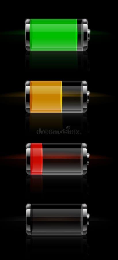 Glossy transparent battery level indicator. Set of detailed glossy transparent battery level indicator icons vector illustration