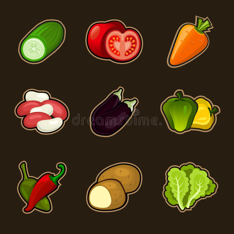 Download Glossy vegetable set stock vector. Image of bright, pepper - 31167267