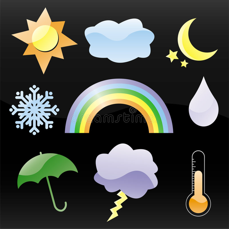Download Glossy Weather Icons Royalty Free Stock Photo - Image: 3371795