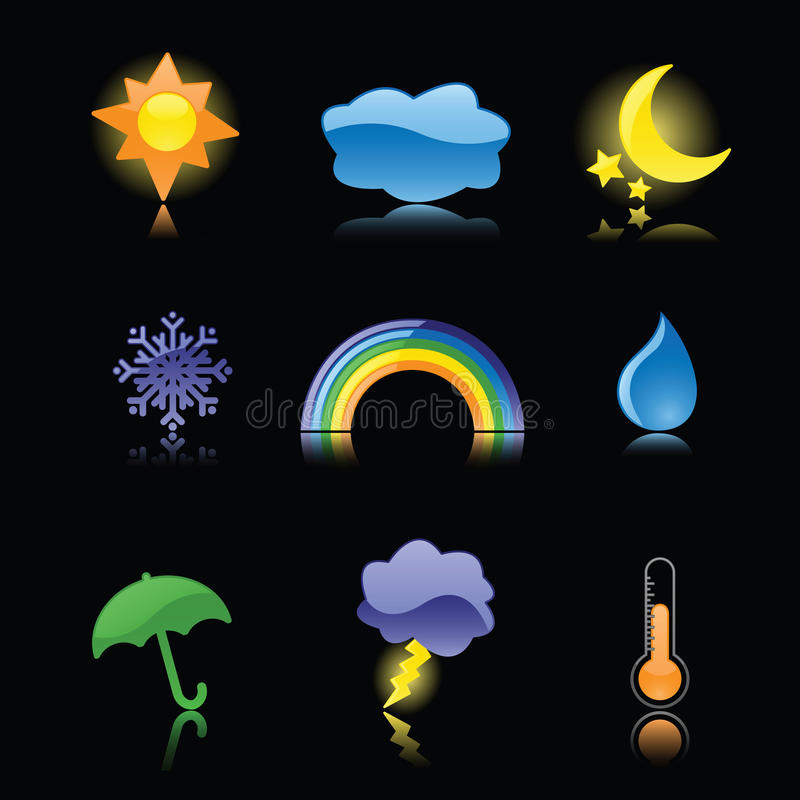 Glossy Weather Icons on Black. Nine glossy weather icons, reflected on black. Perfect for rain or shine vector illustration