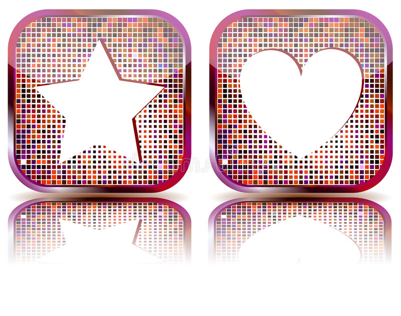 Glossy web button with favorites icon. royalty free illustration