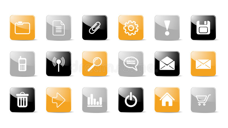 Glossy web icon set. In black, gray and orange isolated on a white background