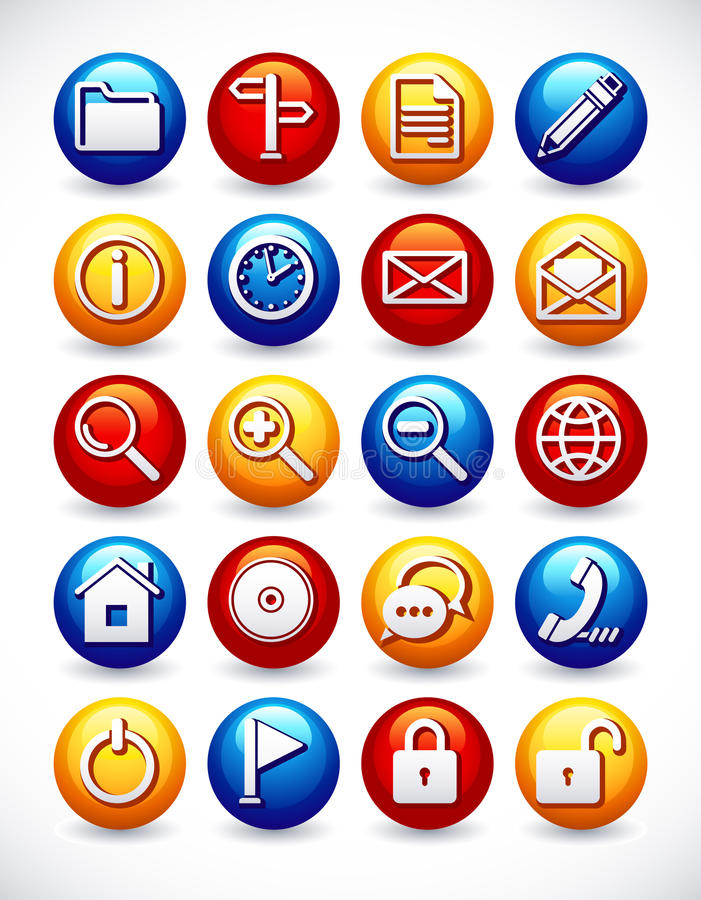 Glossy web icons stock illustration