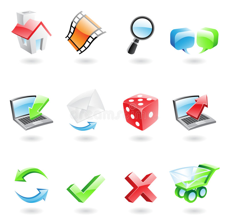 Download Glossy web icons stock vector. Illustration of element - 9096217