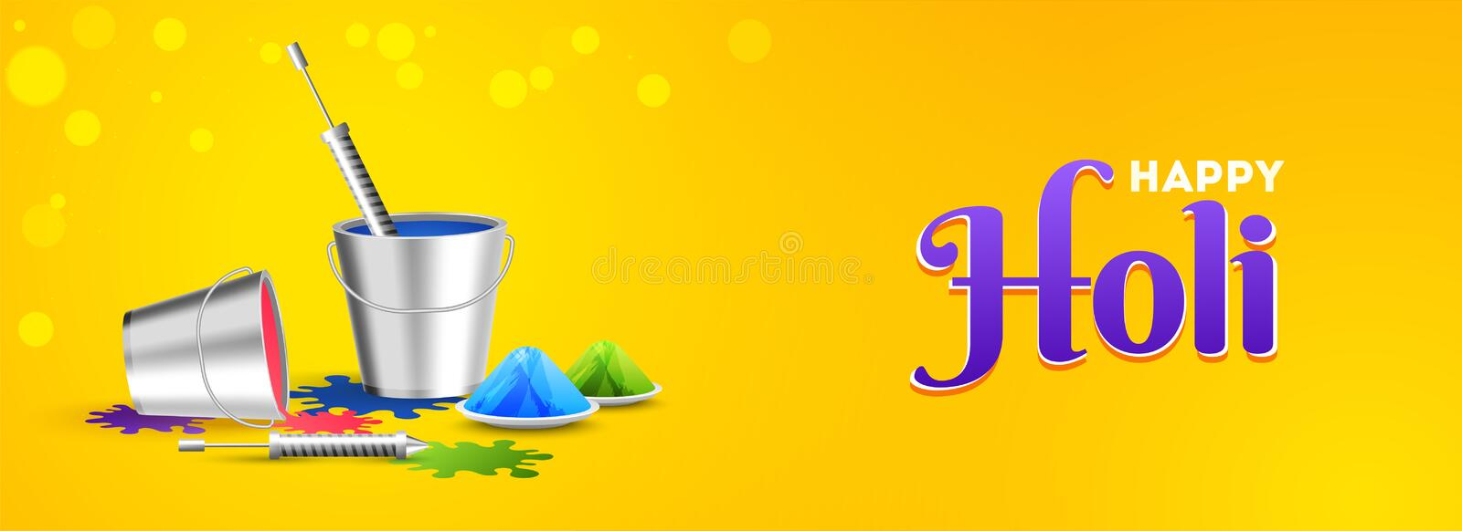 Glossy yellow header or banner design with festival elements for Happy Holi festival royalty free illustration