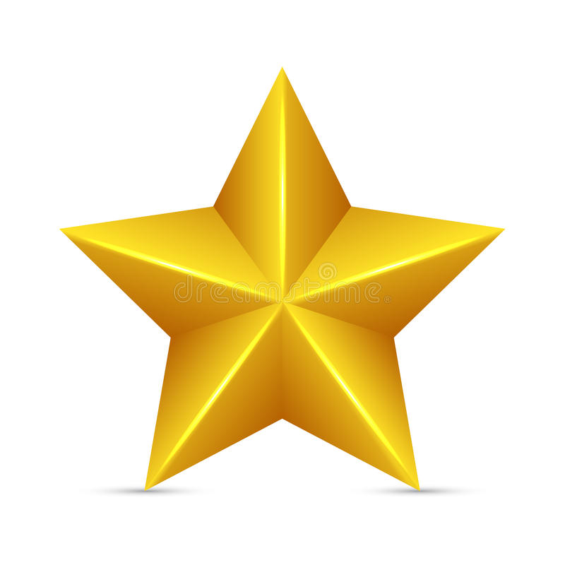 Glossy Yellow Star. On white background stock illustration