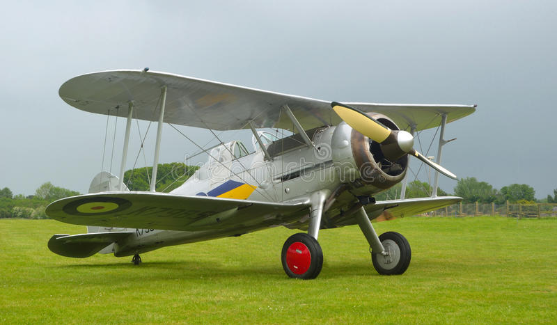 Gloster Gladiator outside on airfield royalty free stock image