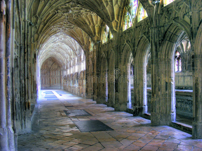 Gloucester Cathedral-Cloisters 01. View of one of the cloisters at Gloucester Cathedral stock photography