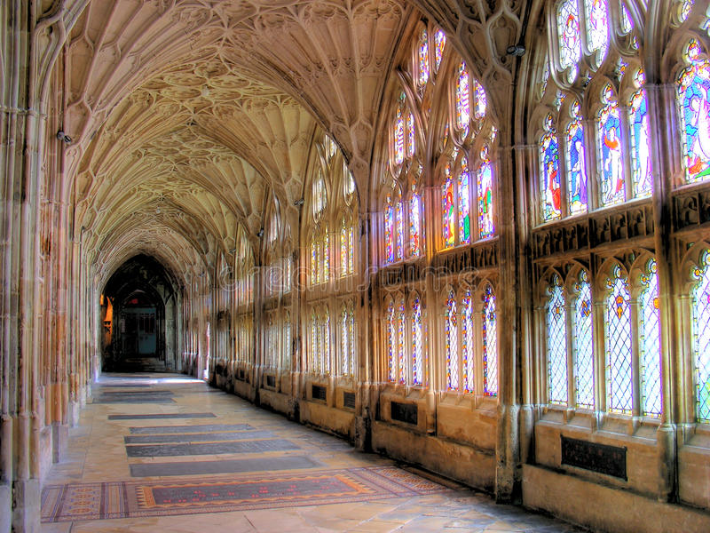 Gloucester Cathedral-Cloisters 02. View of one of the cloisters at Gloucester Cathedral royalty free stock photos