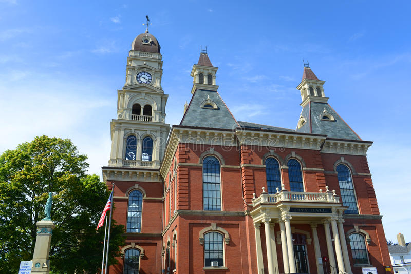 Gloucester City Hall, Massachusetts, USA. Gloucester City Hall was built in 1870 with Victorian and Second Empire style. The building is served as the center of stock image