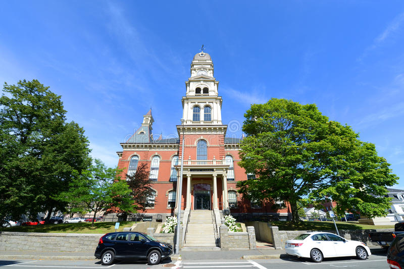 Gloucester City Hall, Massachusetts, USA. Gloucester City Hall was built in 1870 with Victorian and Second Empire style. The building is served as the center of stock photo