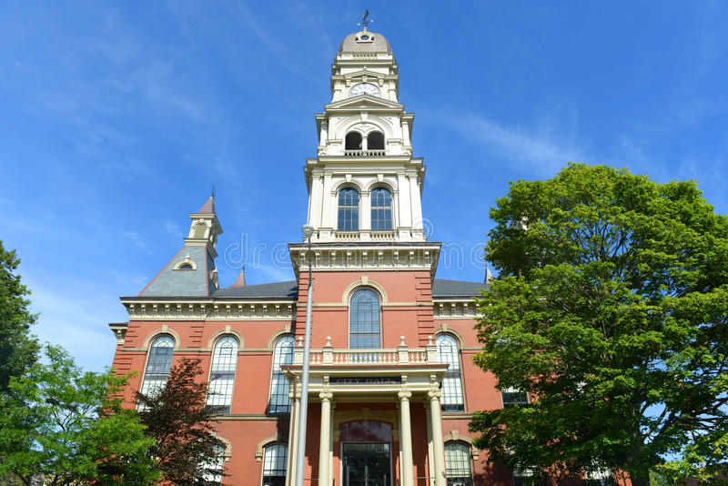 Gloucester City Hall, Massachusetts, USA. Gloucester City Hall was built in 1870 with Victorian and Second Empire style. The building is served as the center of royalty free stock photo