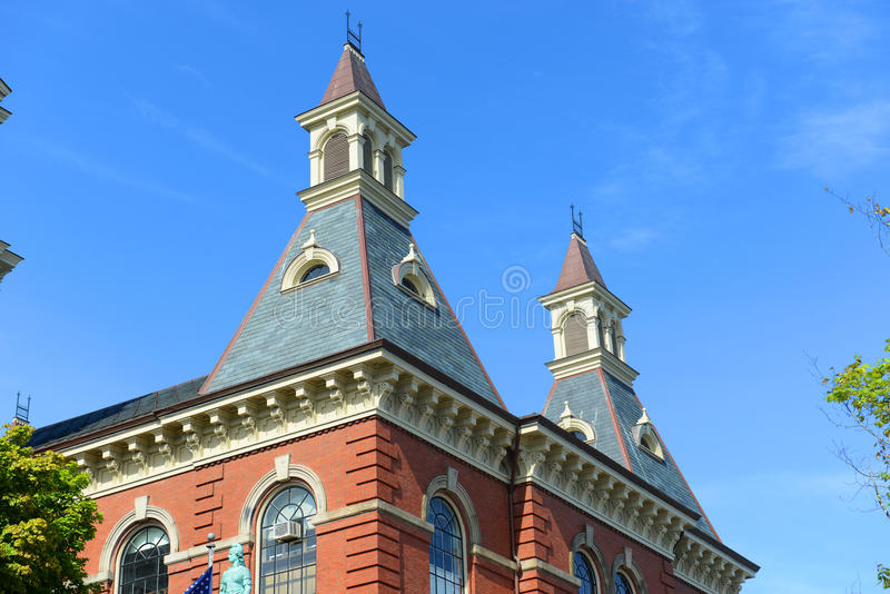 Gloucester City Hall, Massachusetts, USA. Gloucester City Hall was built in 1870 with Victorian and Second Empire style. The building is served as the center of stock photos