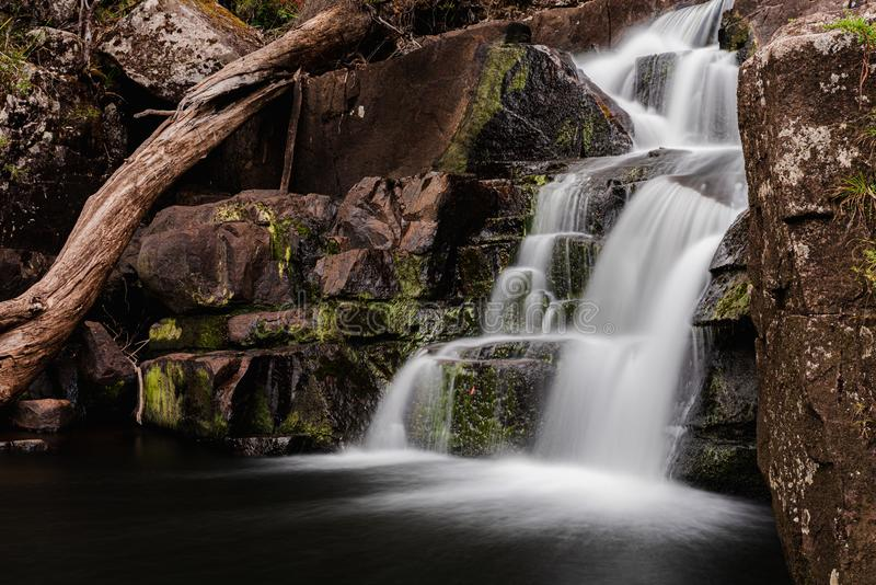 Gloucester falls long exposure with low flow water due to drought. In Australia stock image
