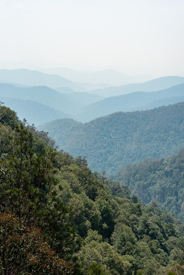 Gloucester Falls walking track look out at smoke from wild fires. In Australia royalty free stock photos