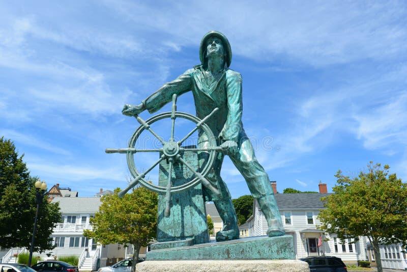 Gloucester Fisherman's Memorial, Massachusetts. Gloucester Fisherman's Memorial (a.k.a. Man at the Wheel) located near the entrance of Gloucester, Massachusetts stock photo