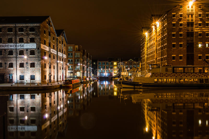 Gloucester Historic Harbour by night. ENGLAND, GLOUCESTER - 13 OCT 2015: Gloucester Historic Harbour by night royalty free stock photo