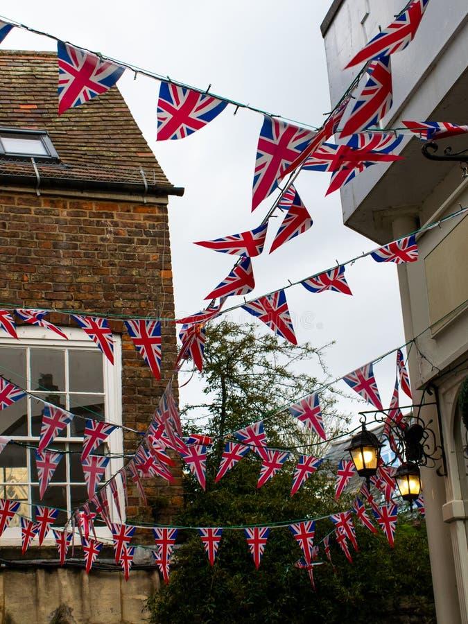 Gloucester, Zjednoczone Królestwo - 1 lutego 2020 r.: Brytyjskie flagi wszędzie po potwierdzeniu Brexit, Wielka Brytania świętuje zdjęcia royalty free