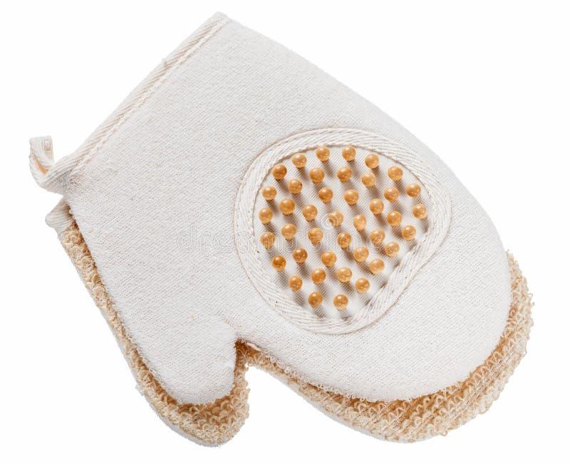 Glove massager washcloth isolated on white royalty free stock photo