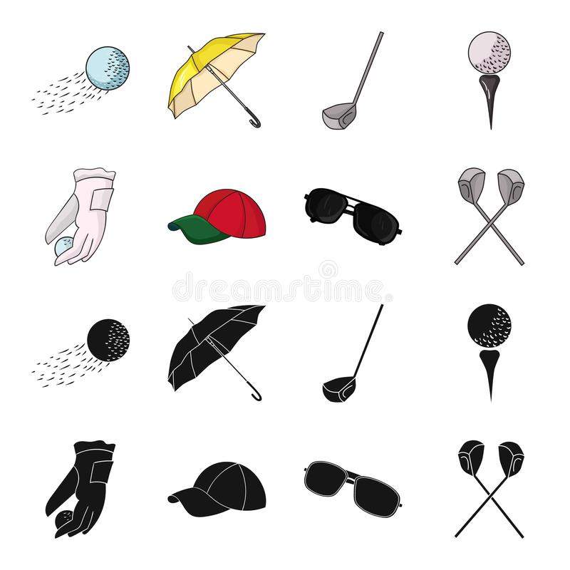 A glove for playing golf with a ball, a red cap, sunglasses, two clubs. Golf Club set collection icons in black,cartoon. Style vector symbol stock illustration royalty free illustration