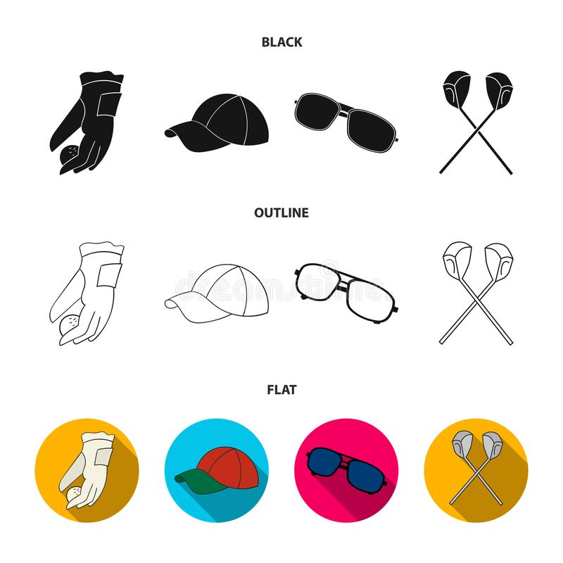 A glove for playing golf with a ball, a red cap, sunglasses, two clubs. Golf Club set collection icons in black,flat. Outline style vector symbol stock royalty free illustration