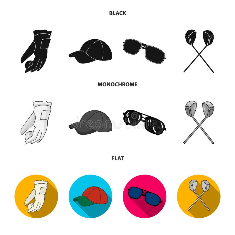 A glove for playing golf with a ball, a red cap, sunglasses, two clubs. Golf Club set collection icons in black, flat. Monochrome style vector symbol stock royalty free illustration