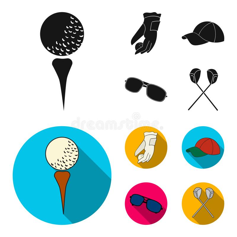 A glove for playing golf with a ball, a red cap, sunglasses, two clubs. Golf Club set collection icons in black,flat. Style vector symbol stock illustration royalty free illustration