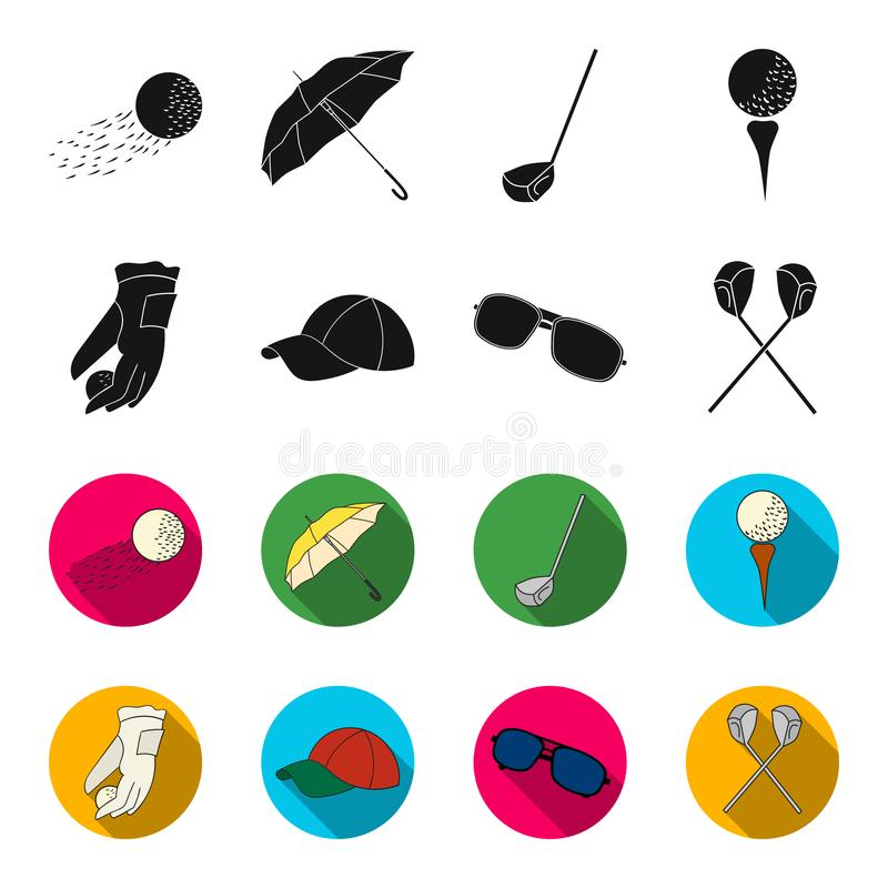 A glove for playing golf with a ball, a red cap, sunglasses, two clubs. Golf Club set collection icons in black,flet. Style vector symbol stock illustration royalty free illustration