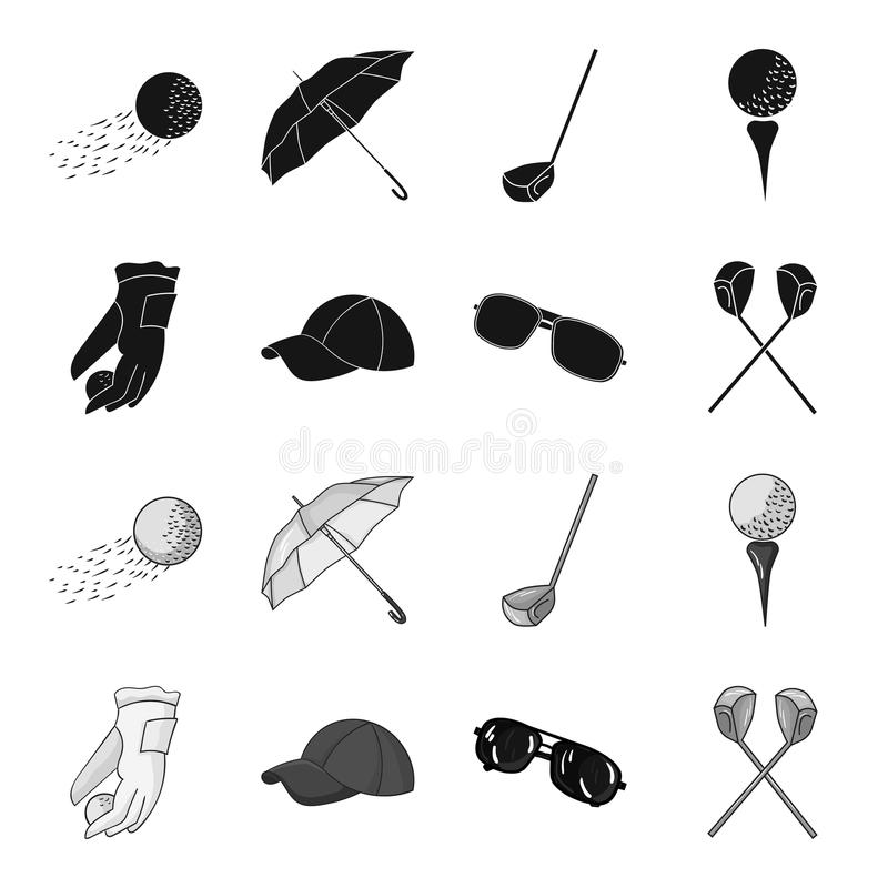 A glove for playing golf with a ball, a red cap, sunglasses, two clubs. Golf Club set collection icons in black. Monochrome style vector symbol stock vector illustration