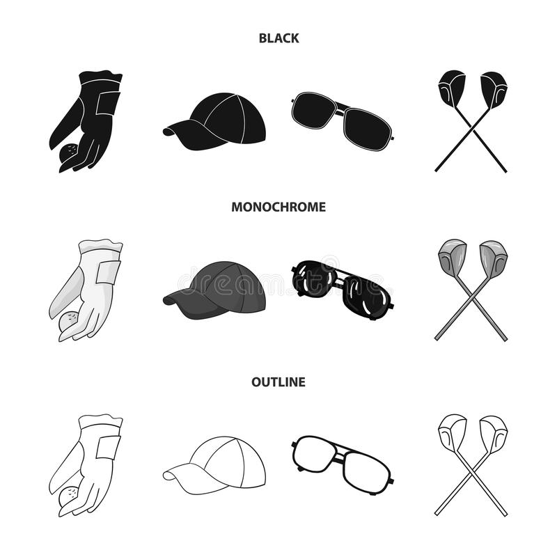 A glove for playing golf with a ball, a red cap, sunglasses, two clubs. Golf Club set collection icons in black. Monochrome,outline style vector symbol stock stock illustration