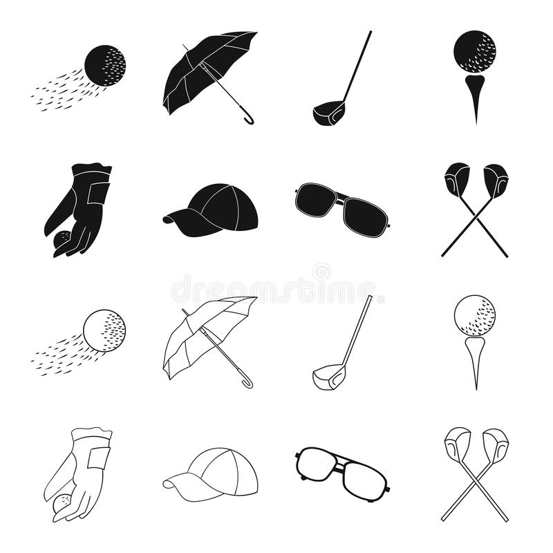 A glove for playing golf with a ball, a red cap, sunglasses, two clubs. Golf Club set collection icons in black,outline. Style vector symbol stock illustration vector illustration