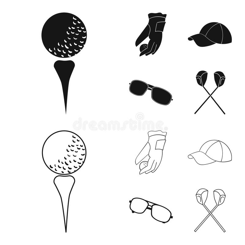 A glove for playing golf with a ball, a red cap, sunglasses, two clubs. Golf Club set collection icons in black,outline. Style vector symbol stock illustration stock illustration