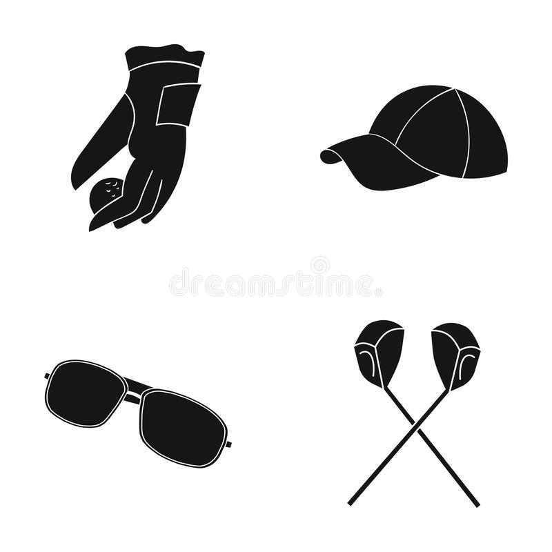 A glove for playing golf with a ball, a red cap, sunglasses, two clubs. Golf Club set collection icons in black style. Vector symbol stock illustration vector illustration